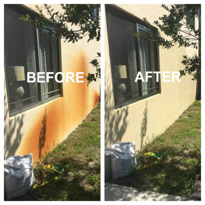 rust removal on house before and after cleaning