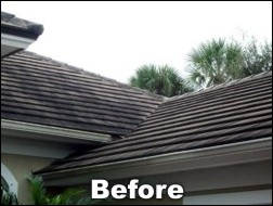 Shingled roof cleaning before