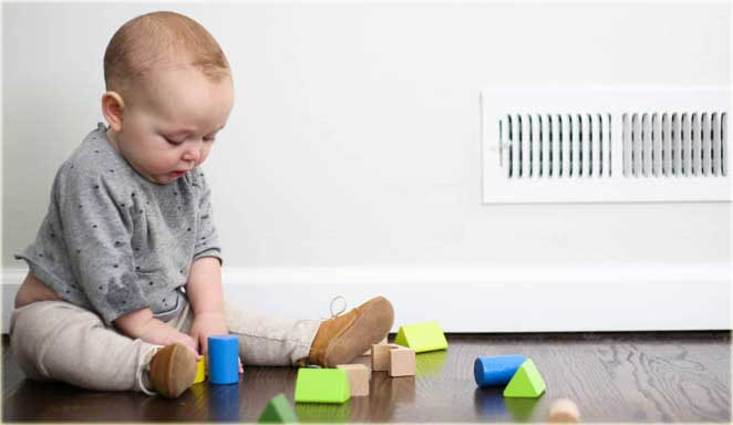 Baby Playing Next to Vent